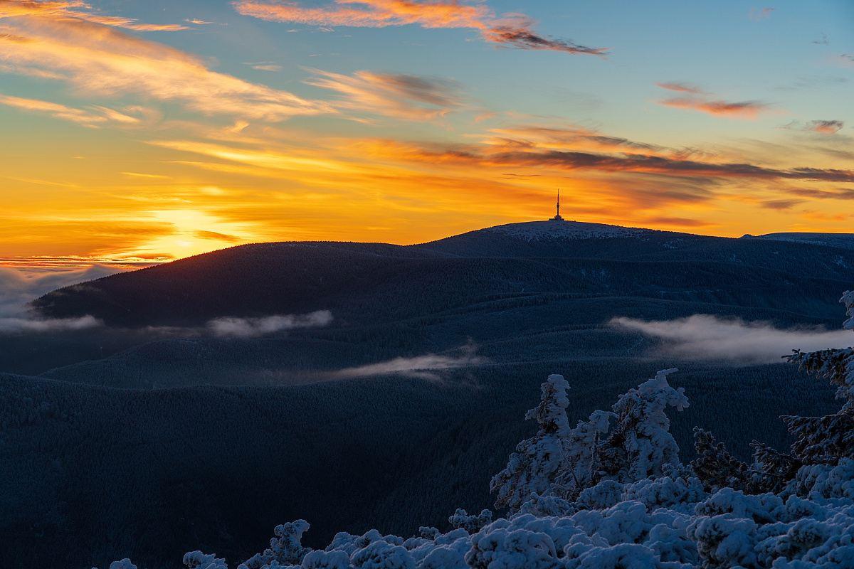 Západ slunce na Pradědu